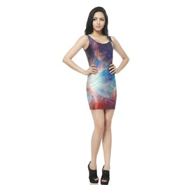 Rainbow Color Bodycon Dress Tank Tops